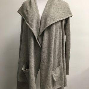 RALPH LAUREN gray hooded cashmere drape cardigan S